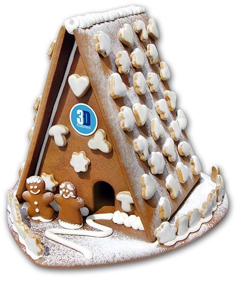 Lebkuchenhaus mit Lebkuchenpaar mega mit Logo