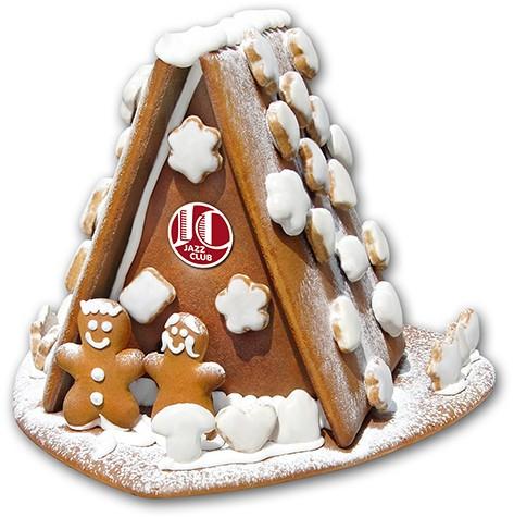 Lebkuchenhaus mit Lebkuchenpaar maxi mit Logo