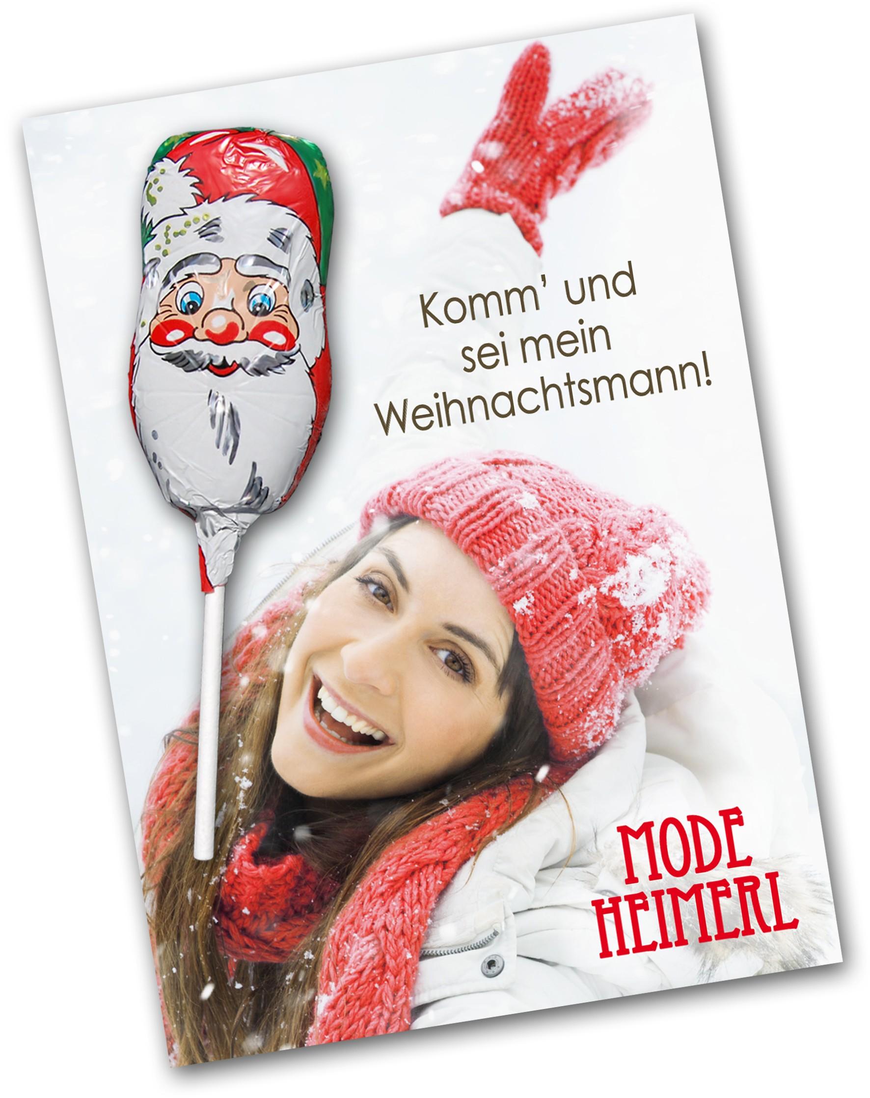 Grußkarte mit Weihnachtsschokololly