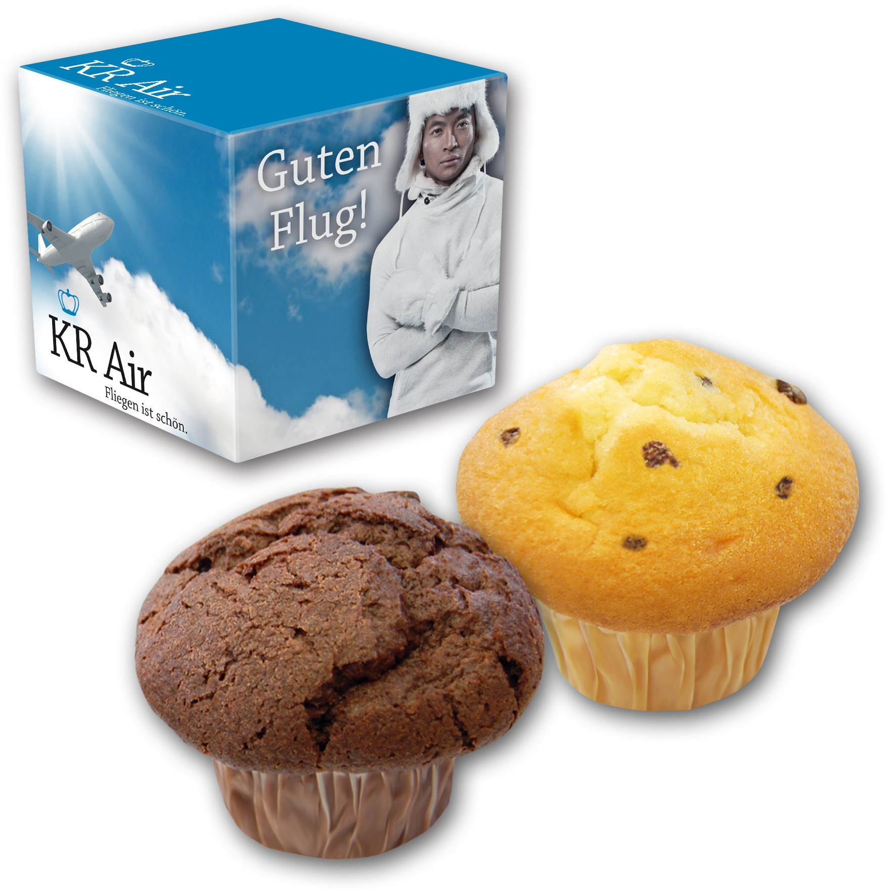 Muffin in bedrucktem Karton