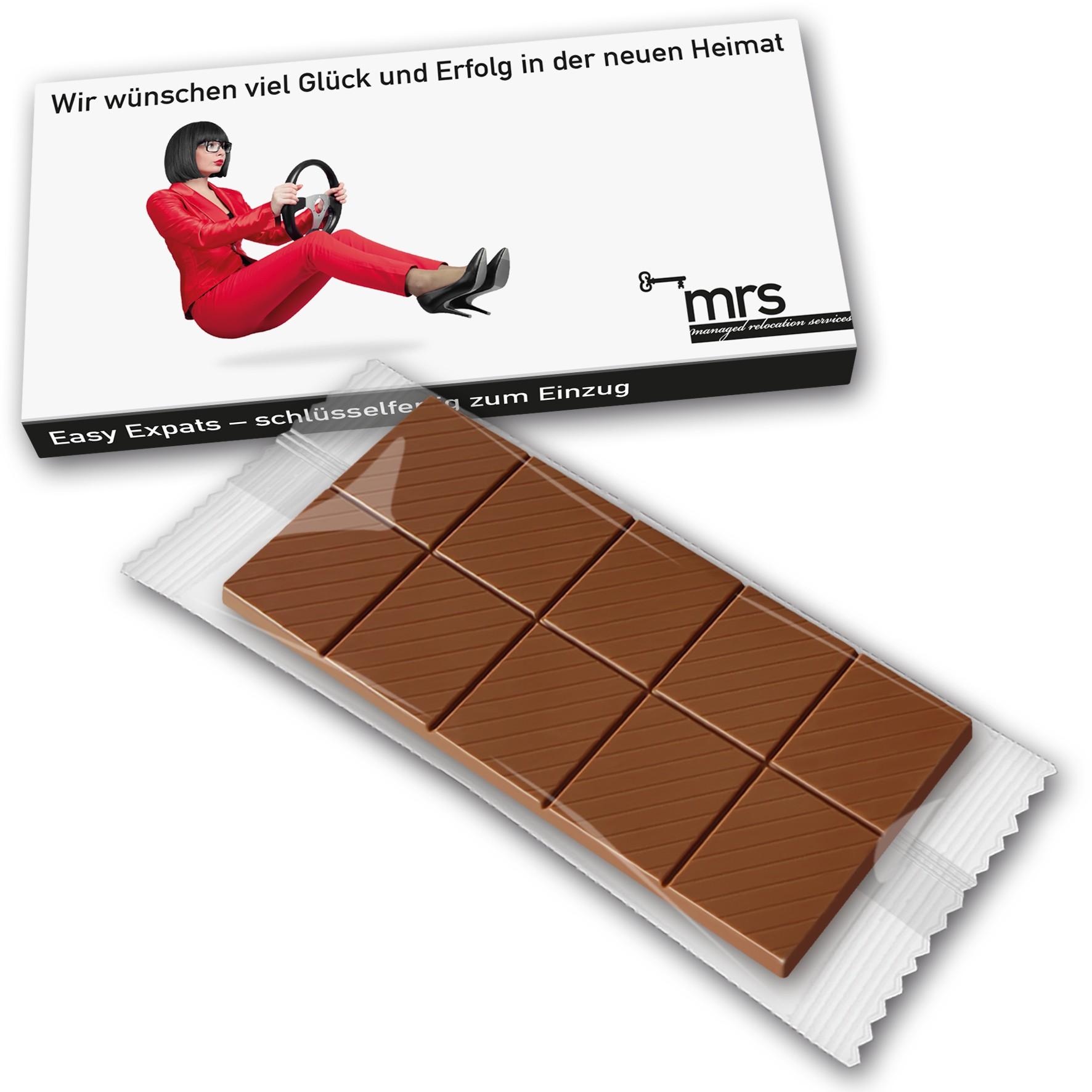 Schokoladentafel in bedrucktem Karton