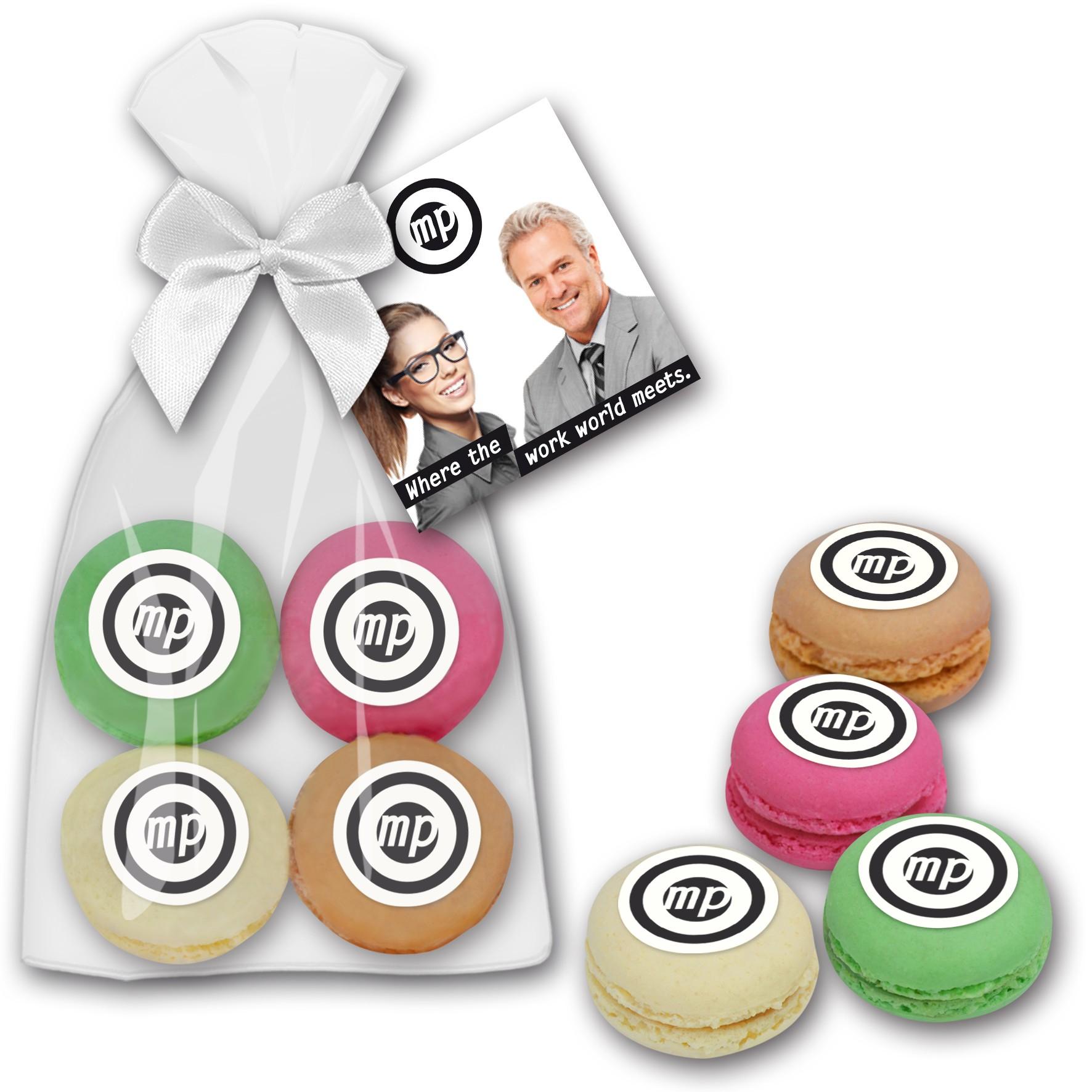 Macarons 4er im  Beutel mit Marzipanlogo