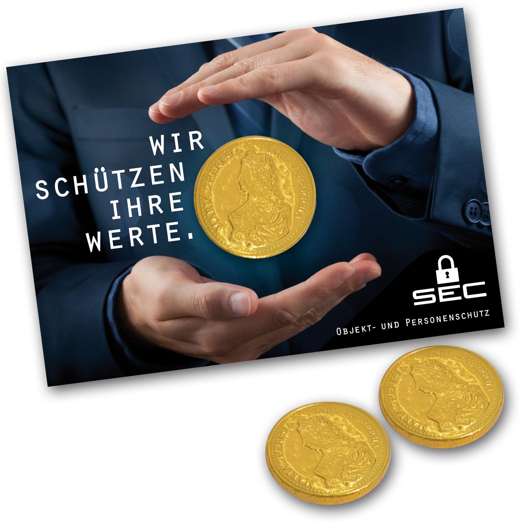 Schokogoldmünze auf Karte