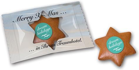 Lebkuchenstern mini mit Logo in bedruckter Folie
