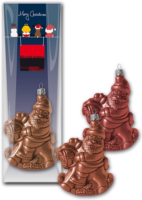 Schoko-Christbaumkugel Nikolaus auf Schaukelpferd