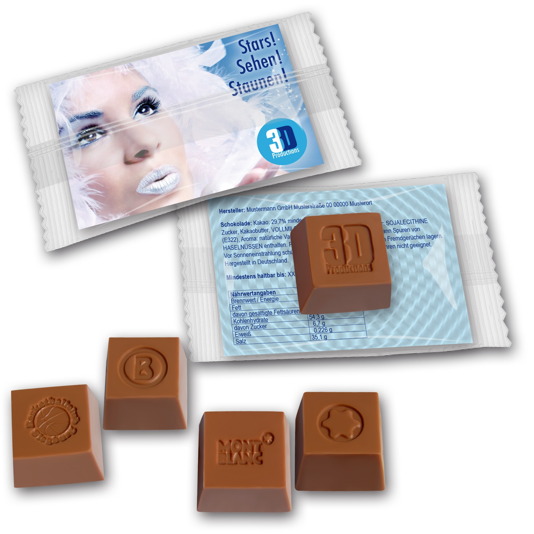 Schokoladenwürfel mit Prägung