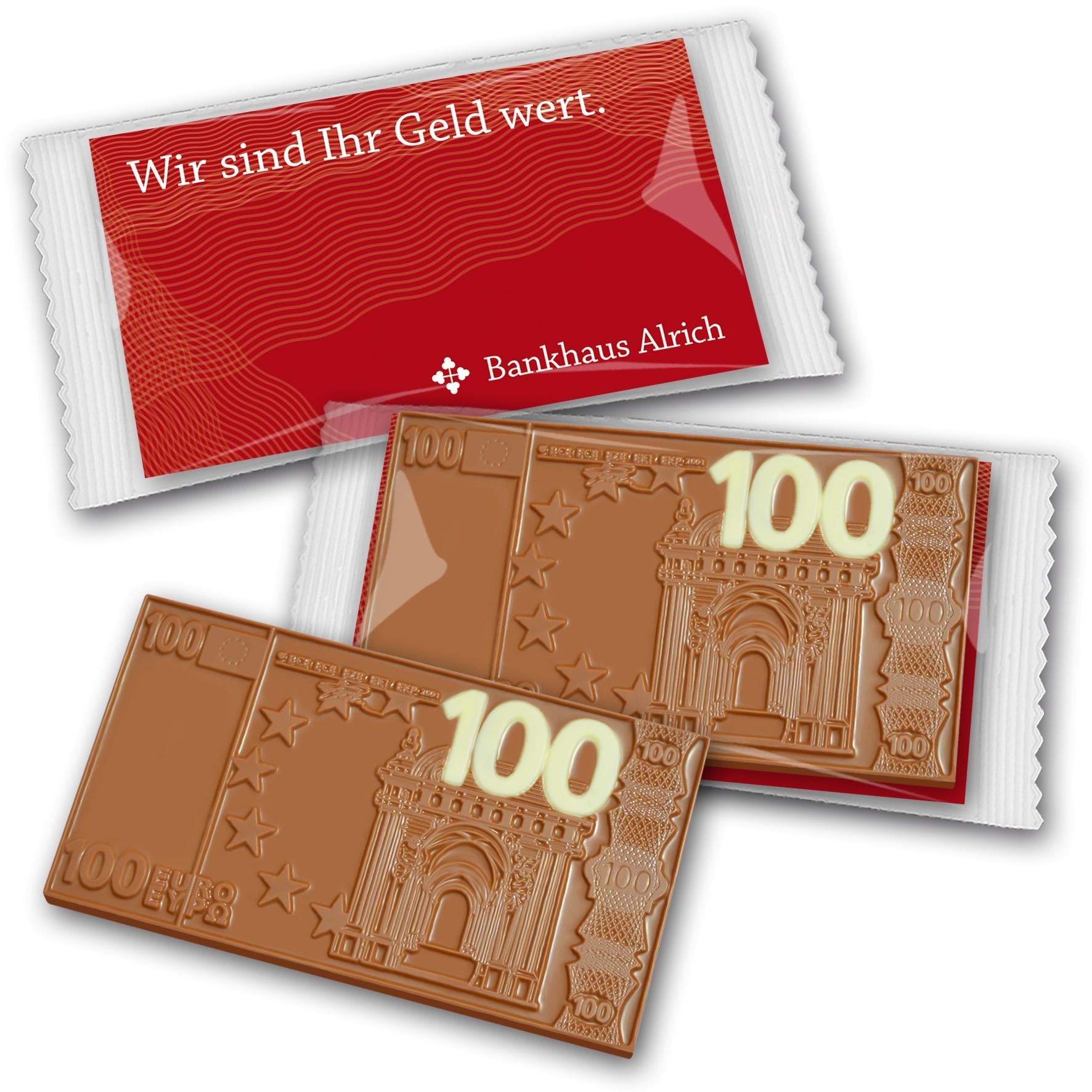 100 Euro Schokolade auf Karte