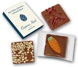 Schokolade kreativ in bedrucktem Karton Ostern