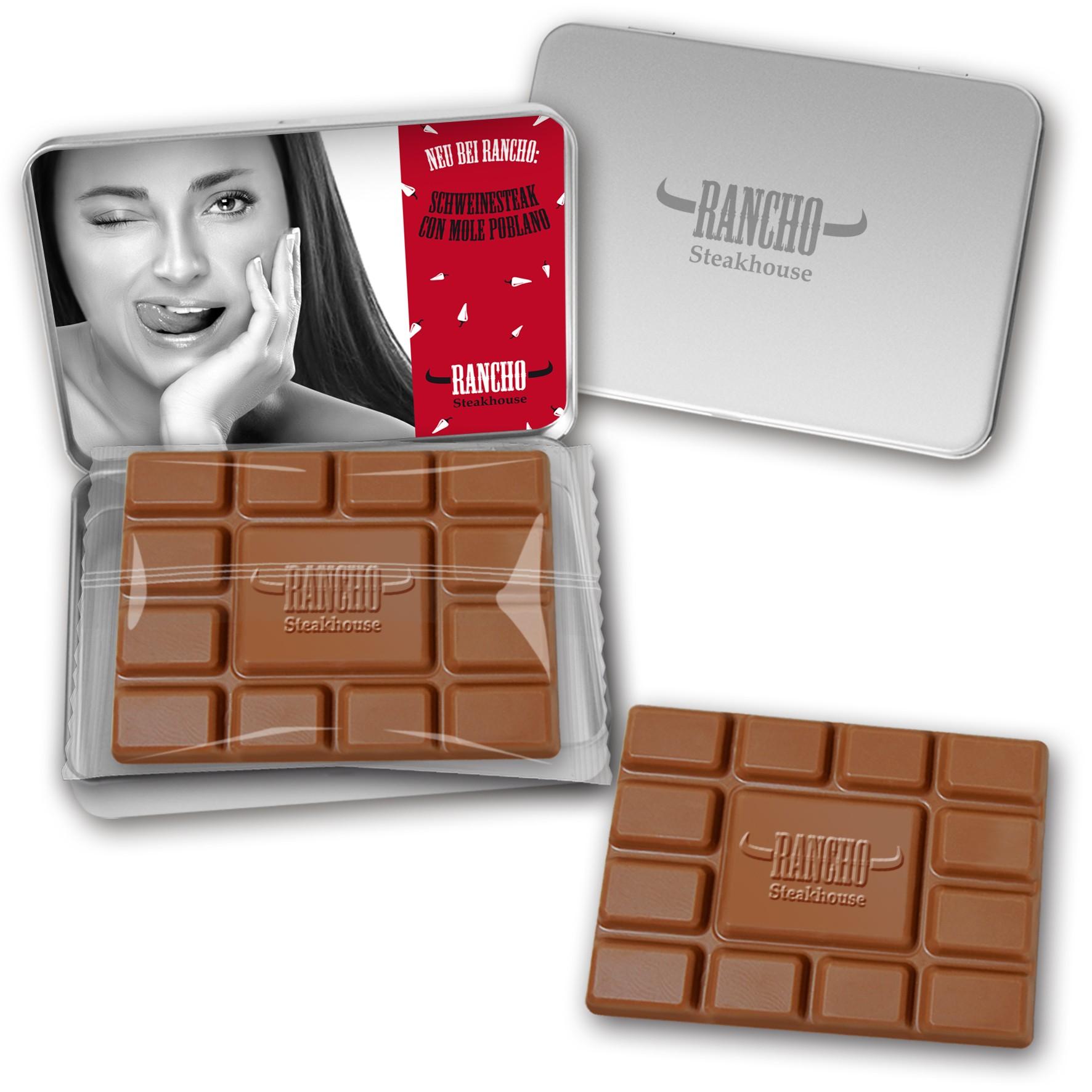Schokoladentafel mit Prägung