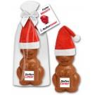 Weihnachtsosterhase mit Marzipanschild und Mütze
